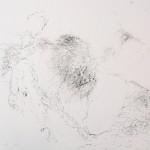 """""""Si peu de zones étanches"""", 2014 (série). Encre de chine sur papier."""