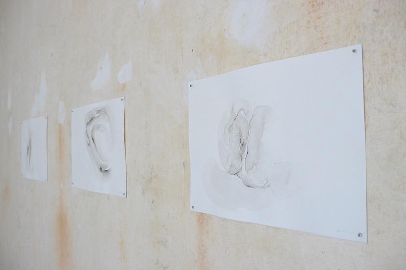 Sur le mur à droite en entrant : ensemble de 3 dessins.